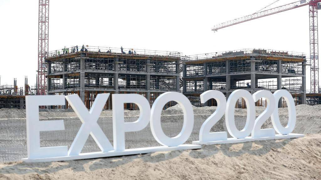 En la imagen del diario The National, trabajos de construcción en Al Wasl Plaza en Dubai en el sitio de la Expo 2020.