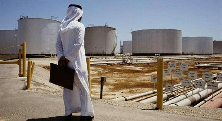 Una planta de crudo en Arabia Saudita.