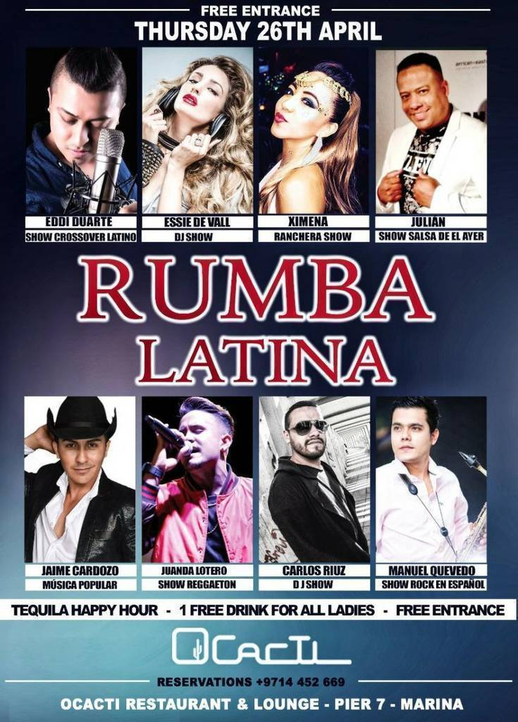 Flyer rumba latina en Ocacti.