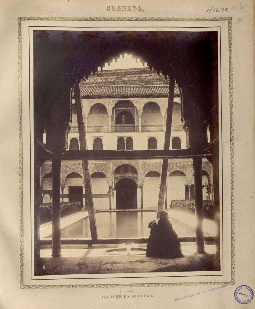 Patio de la Alberca de la Alhambra en 1857. Autor: Joaquín Pedrosa. Perteneciente a APAG / Colección de Fotografías. (Cedida por el Archivo de la Alhambra)