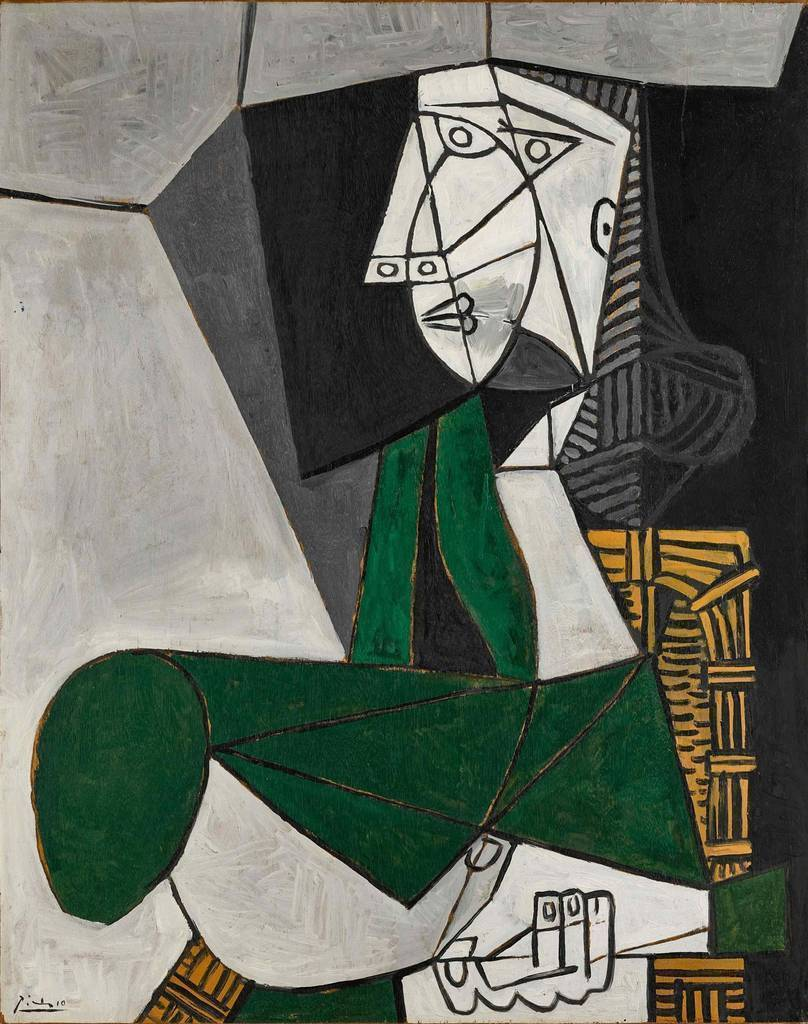 Fotografía cedida por Sotheby's donde se muestra la obra 'Femme assise en costume vert' (1953) del pintor español Pablo Picasso. (EFE/Sotheby's)