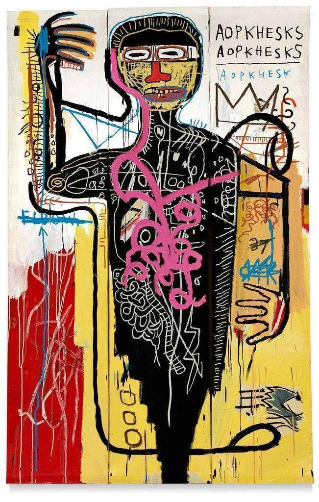 Fotografía cedida por Sotheby's donde se muestra la obra 'Versus Medici' (1982) del estadounidense de origen haitiano y puertorriqueño Jean Michel Basquiat. (EFE/Sotheby's)