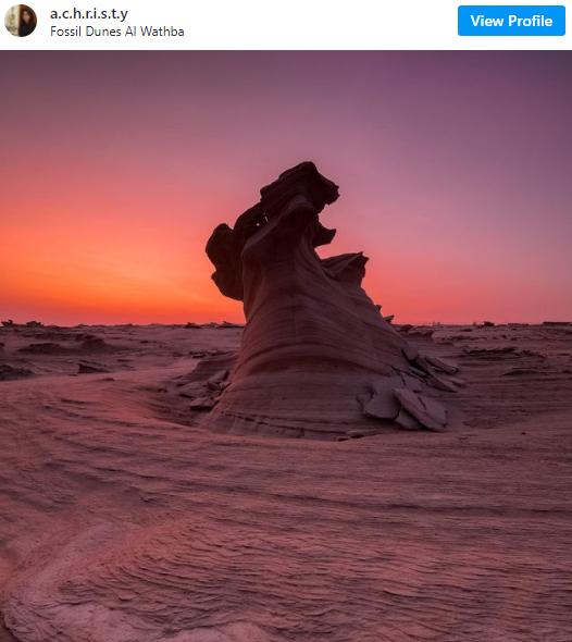 Dúna fósil en Abu Dhabi. (Instagram)