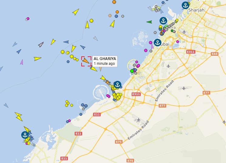 El buque Al Ghariya entrando en Jebel Ali. (vesselfinder.com)