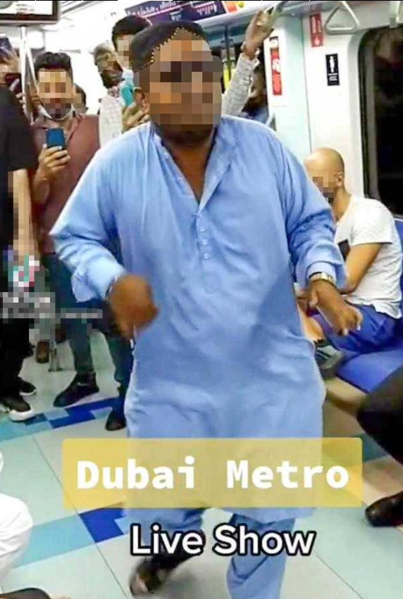 La Policía de Dubai difundió esta imagen del viajero bailando en el Metro.