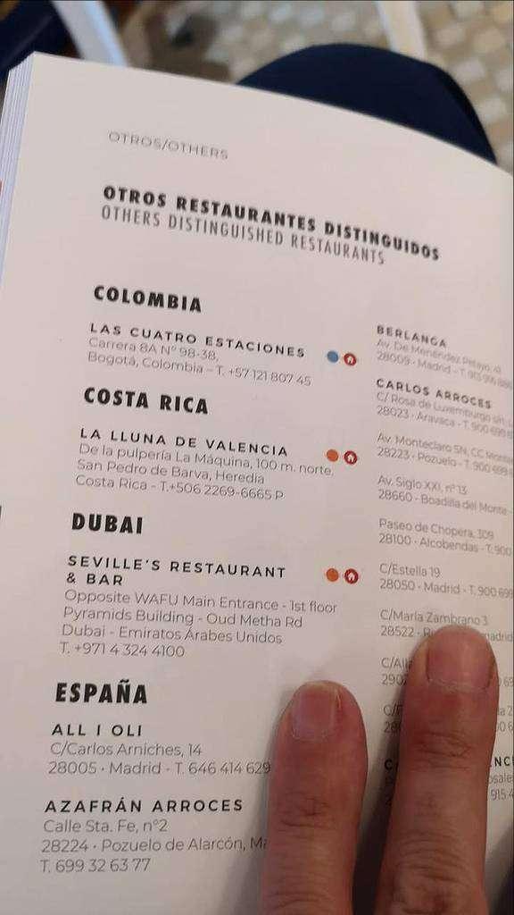 El Seville's ya aparece en la guía impresa difundida por Wikipaella durante la gala de los premios. (Cedida)