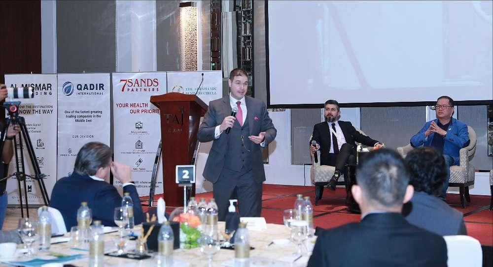 Jon Salazar, fundador y presidente de Gazelle Wind Power Limited, durante su intervención. (Cedida)