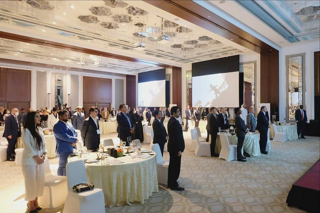 Líderes durante el desarrollo de la Cumbre de la Energía 2021 del Abrahamic Business Circle en Dubai. (Cedida)