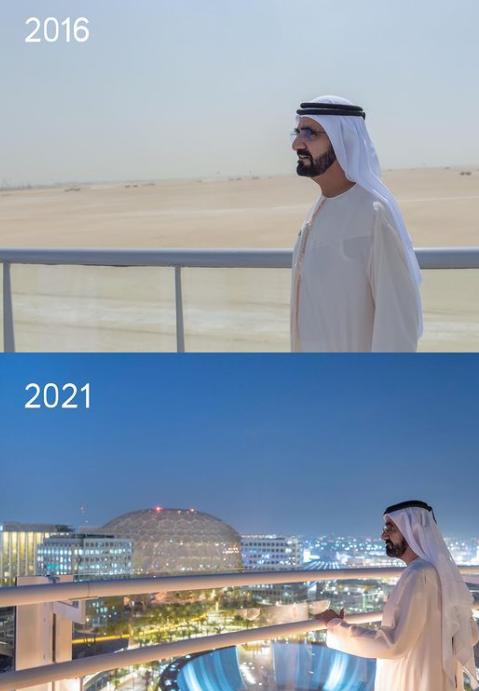 El antes y después del sitio de la Expo Dubai. (Instagram)