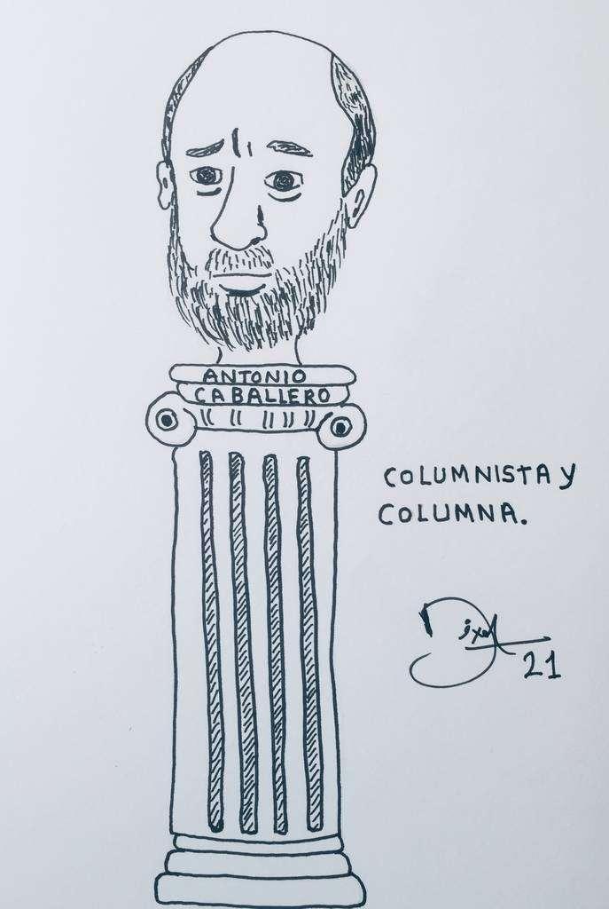 Antonio Caballero, caricaturizado por Dixon Moya.