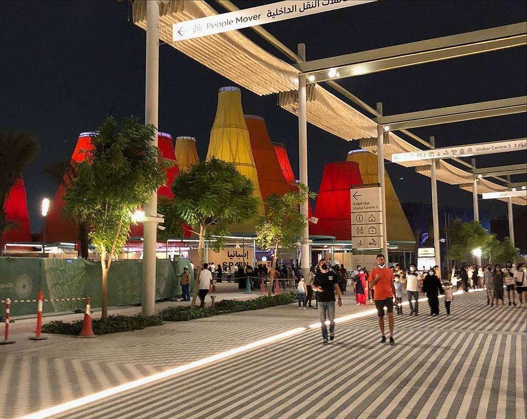 Perspectiva del Pabellón de España en la jornada de puertas abiertas de Expo 2020 Dubai. (EL CORREO)