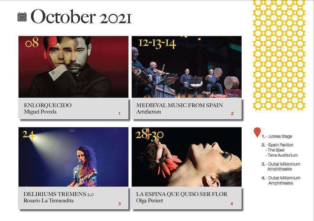 Programa artístico de España en Expo 2020 Dubai durante el mes octubre.